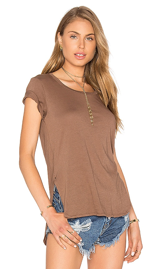 Bobi Light Weight Jersey Hi Lo Tee in Brown
