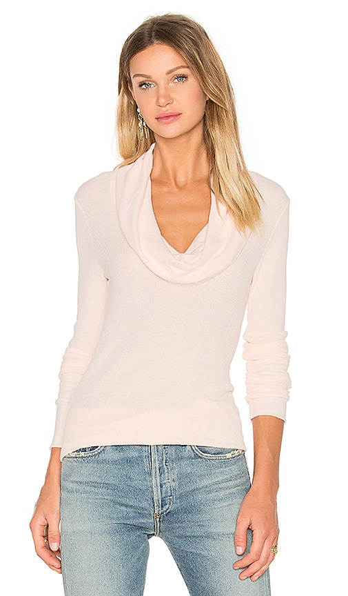 Bobi Modal Thermal Long Sleeve Cowl Neck Top in Blush