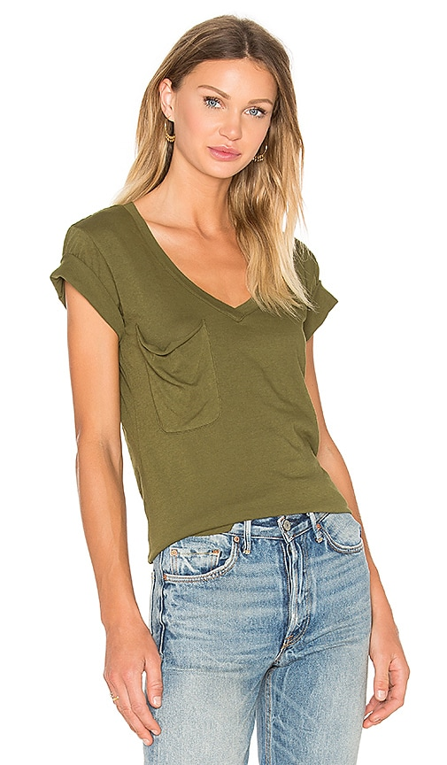 Light Weight Jersey V Neck Front Pocket Tee