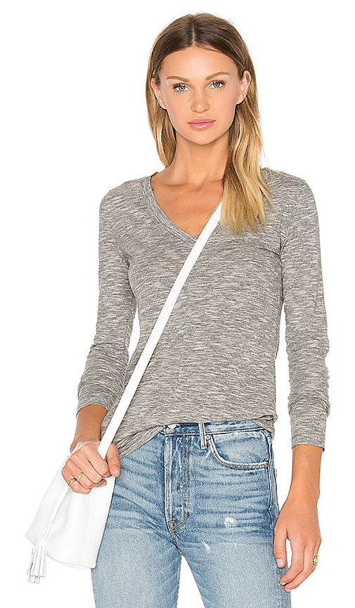 Bobi Mini Striped Jersey Long Sleeve V Neck Top in Gray