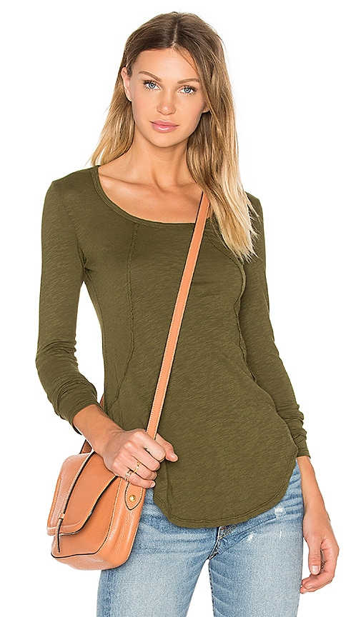 Bobi Slubbed Jersey Long Sleeve Scoop Neck Top in Green