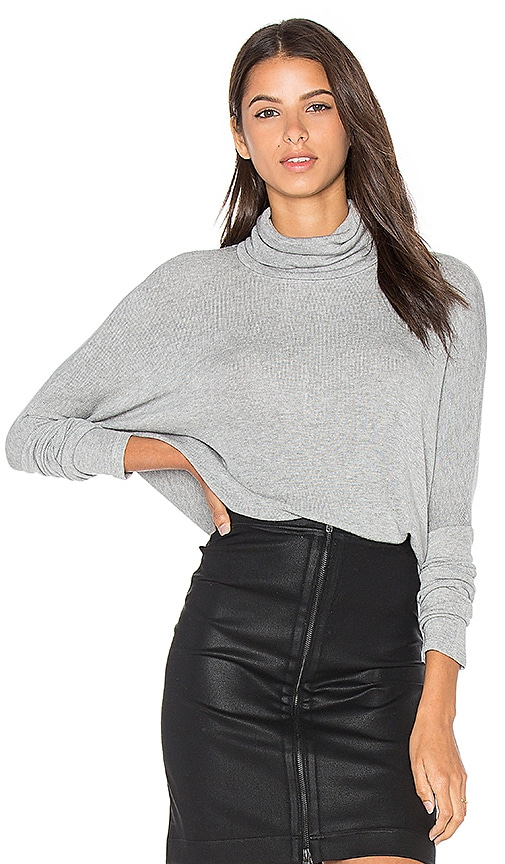 Bobi Draped Rib Long Sleeve Turtleneck Top in Gray