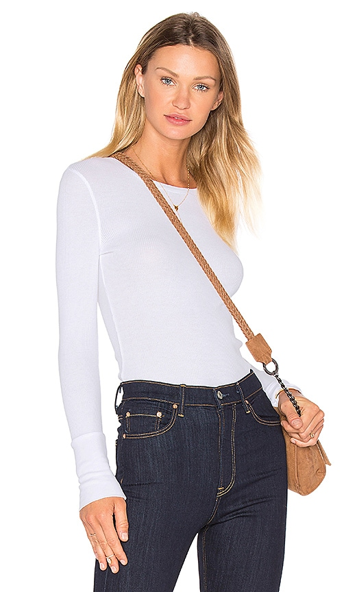 Bobi Modal Thermal Long Sleeve Crew Neck Top in White