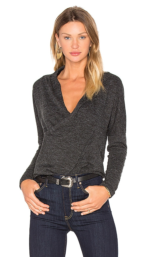 Bobi Fine Woolen Jersey Cross Front Long Sleeve Top in Charcoal