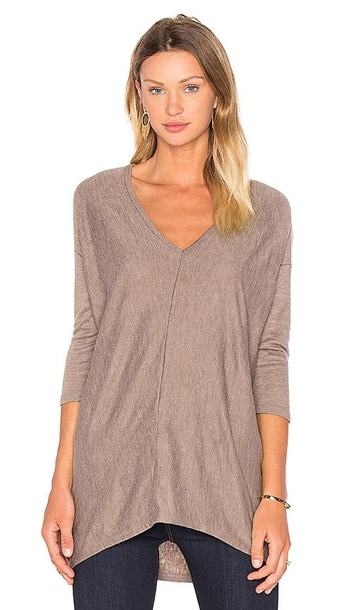 Fine Woolen Jersey 3/4 Sleeve V Neck Top