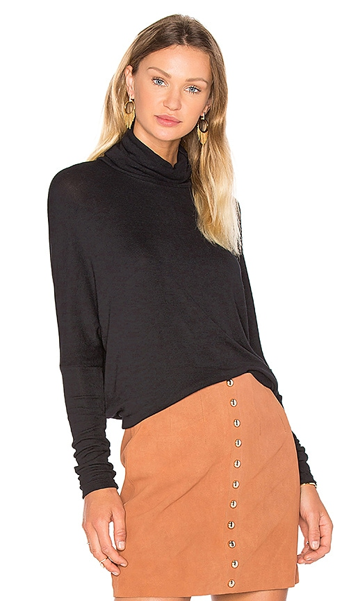 Bobi Draped Rib Long Sleeve Turtleneck Top in Black