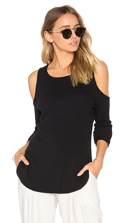 Bobi Modal Thermal Cold Shoulder Top in Black