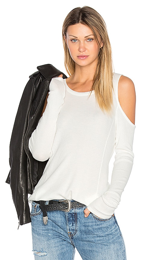 Bobi Modal Thermal Cold Shoulder Top in White