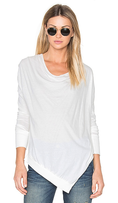 Bobi Light Weight Jersey Cowl Neck Long Sleeve Top in White