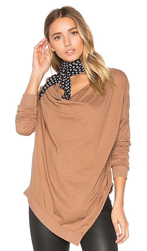 Bobi Light Weight Jersey Cowl Neck Long Sleeve Top in Tan