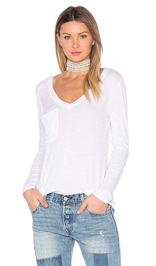 Bobi Light Weight Jersey Pocket Long Sleeve Top in White