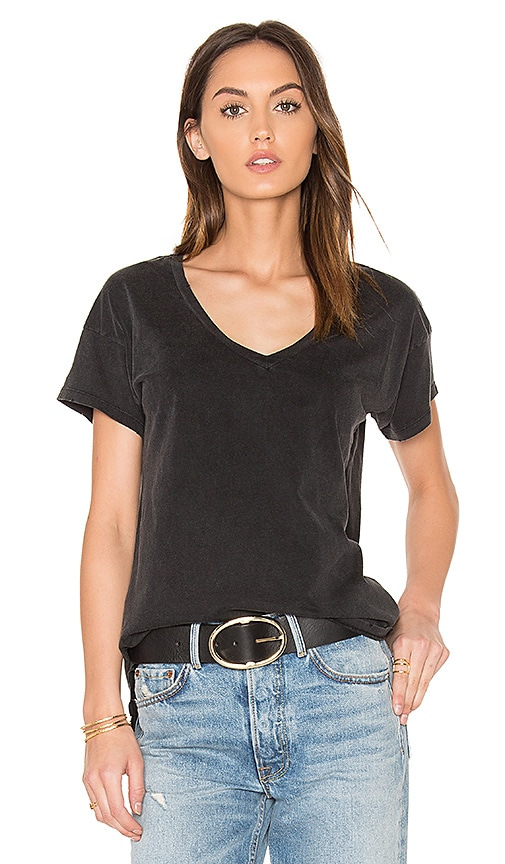 Bobi Distressed Jersey V Neck Tee in Black