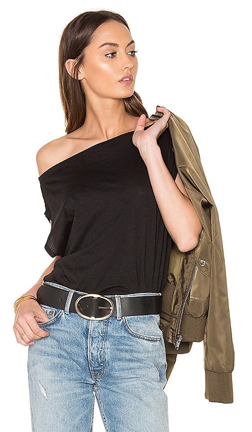 Bobi Light Weight Jersey Off Shoulder Tee in Black