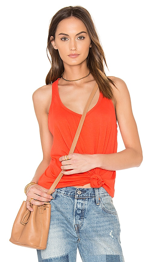Bobi Light Weight Jersey Scoop Neck Tank in Red