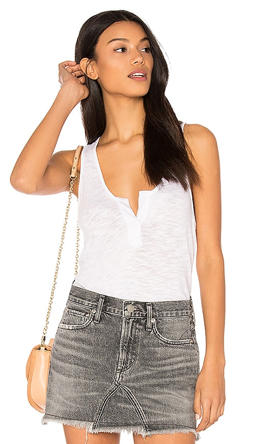 Bobi Cotton Slub V Neck Tank in White