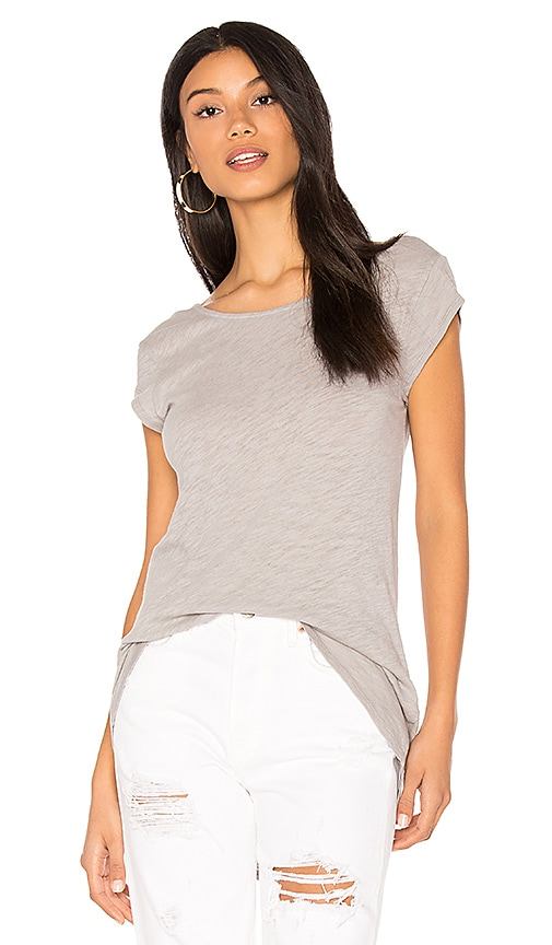 Bobi Cotton Slub Short Sleeve Tee in Gray