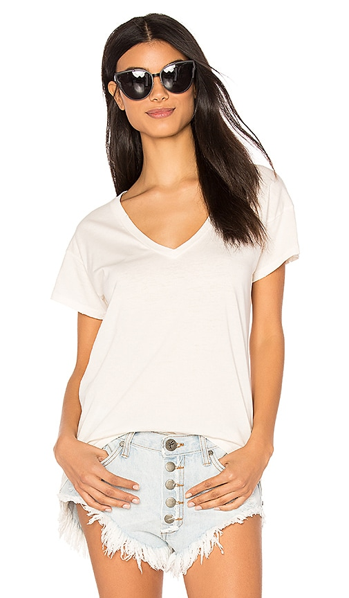 Bobi Distressed Jersey V Neck Tee in Beige