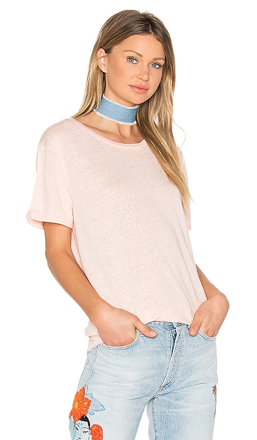 Bobi Linen Jersey Crew Neck Tee in Orange
