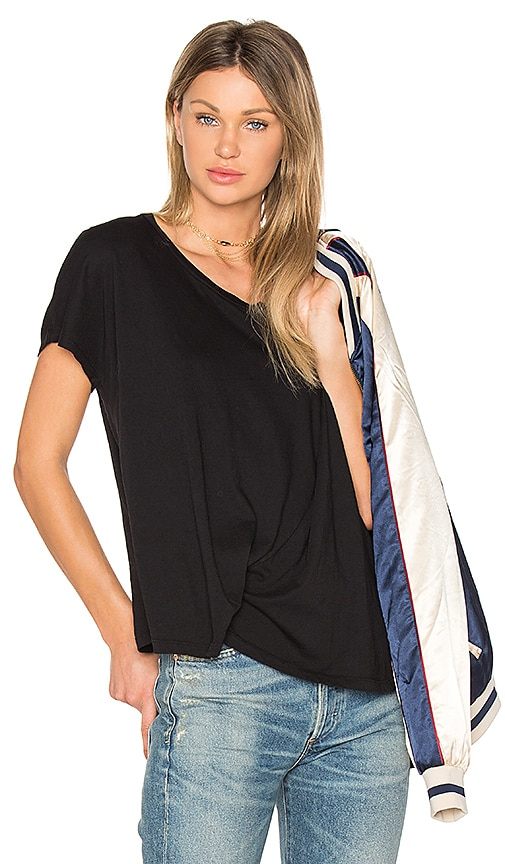 Bobi Light Weight Jersey Asymmetrical Tee in Black