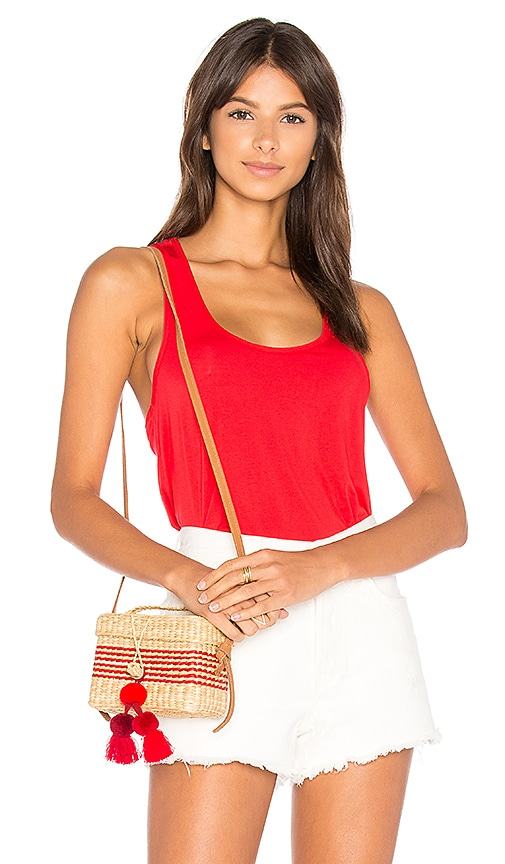 Bobi Tencel Jersey Twist Back Tank in Red
