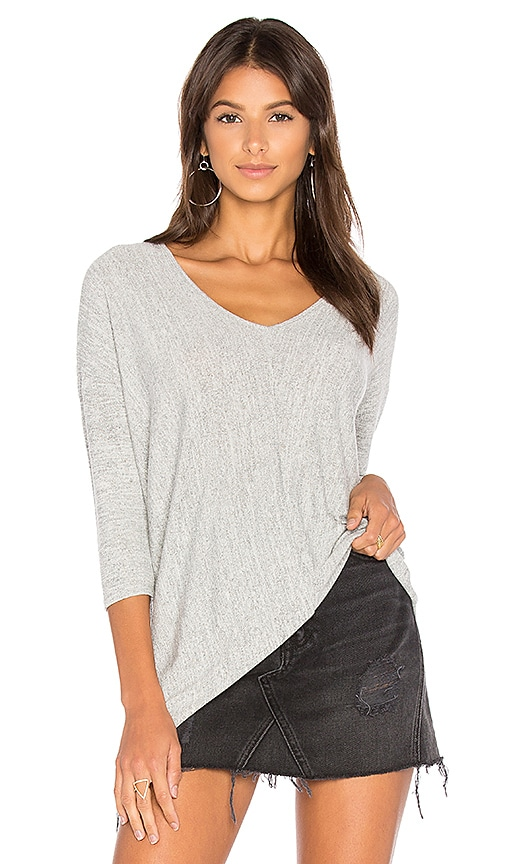 Bobi Faded Dolman Sleeve Top in Gray