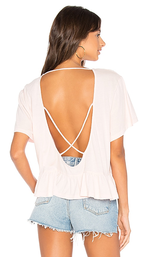 Bobi Light Weight Open Cross Back Tee in Pink