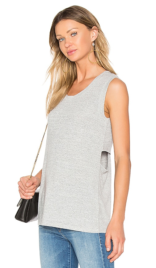 Bobi Faded Crew Neck Tank in Gray