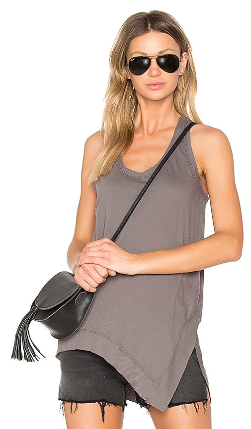 Bobi Light Weight Jersey Side Slit Tank in Gray
