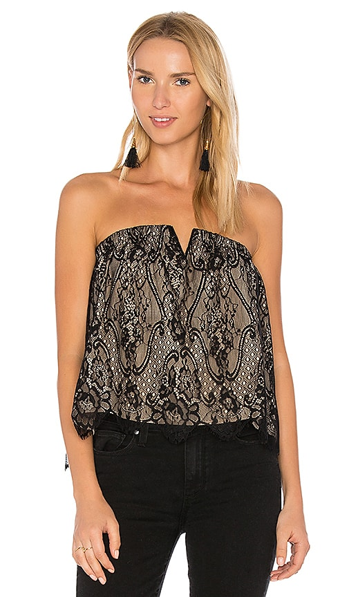 Bobi BLACK Strapless Lace Top in Black