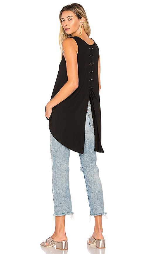 Bobi Lace Up Back Tank in Black