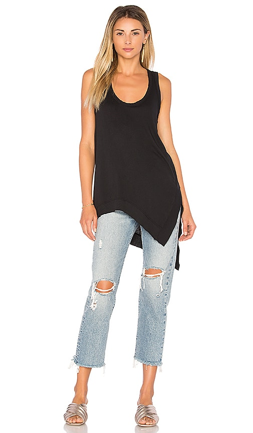 Bobi Light Weight Jersey Asymmetric Tank in Black