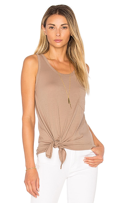 Bobi Light Weight Jersey Side Tie Tank in Brown