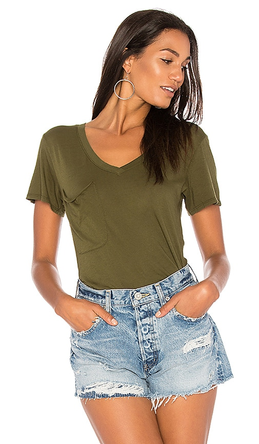 Bobi Light Weight Jersey V Neck Pocket Tee in Green