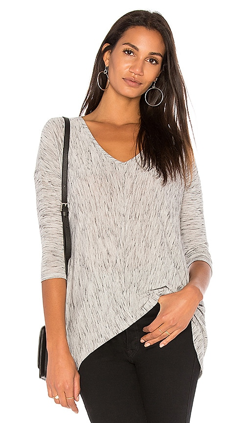 Bobi Coastline Heather Long Sleeve Tee in Gray