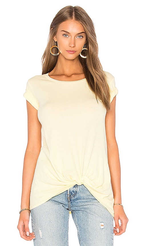 Bobi Light Weight Jersey Knotted Tee in Yellow
