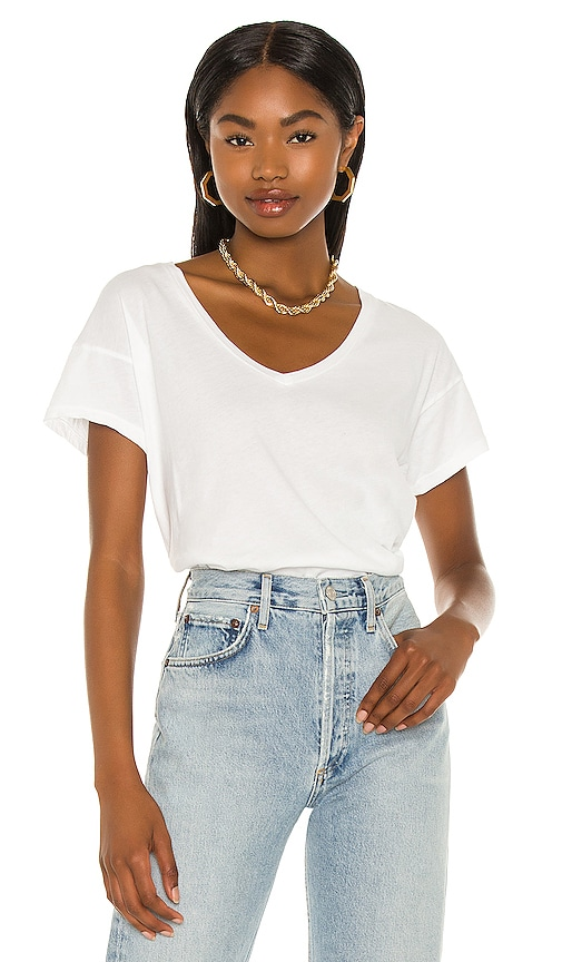 Bobi V Neck Tee in White