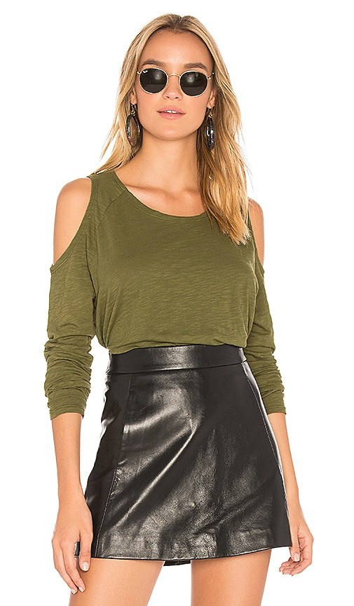 Bobi Jersey Open Shoulder Tee in Green