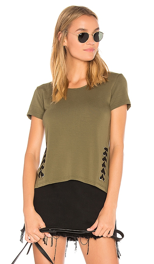 Bobi Laced Seam Tee in Green