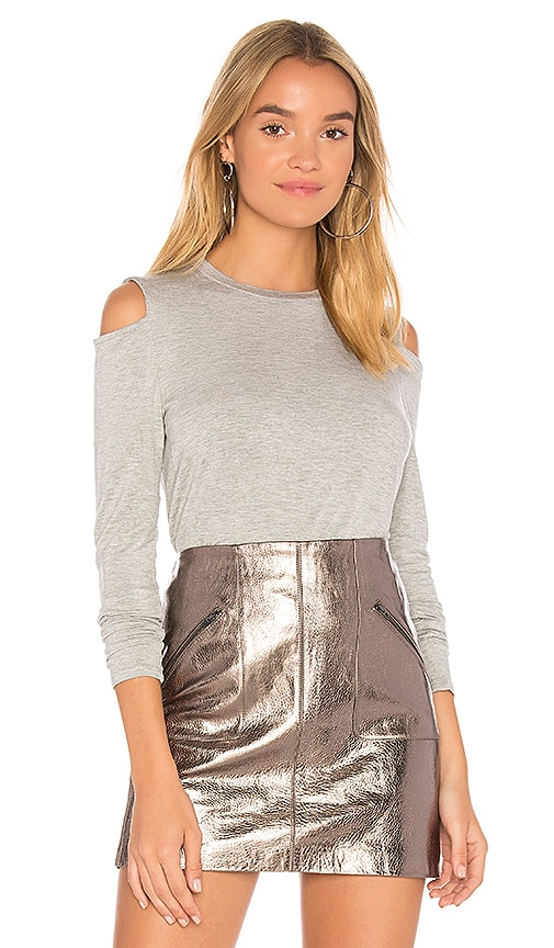 Bobi Cold Shoulder Tee in Gray