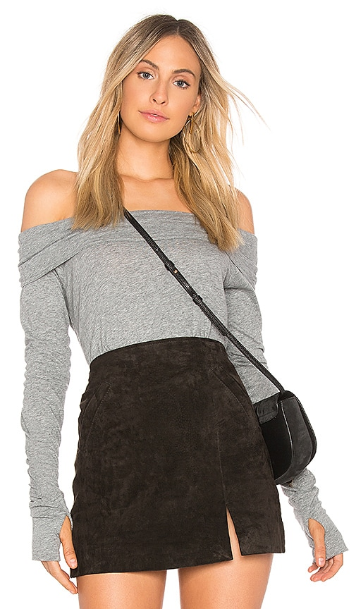 Bobi Light Jersey Off Shoulder Top in Gray