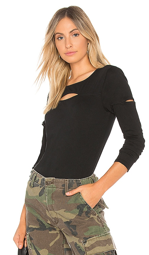 Bobi Light Jersey Cutout Top in Black