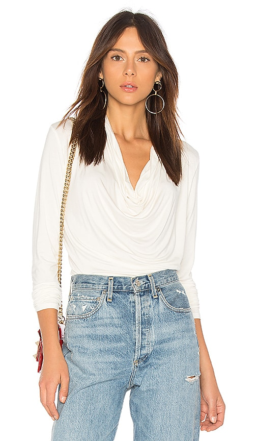 Bobi Bamboo Jersey Cowl Top in Ivory