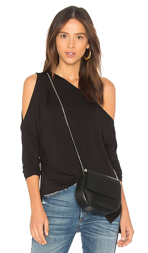Bobi Bamboo Jersey One Shoulder Top in Black