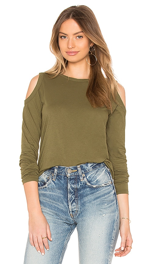 28ac7a37660729 Bobi Jersey Cold Shoulder Top in Cargo | REVOLVE