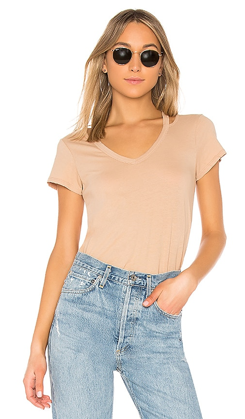 Bobi Jersey Short Sleeve Tee in Tan