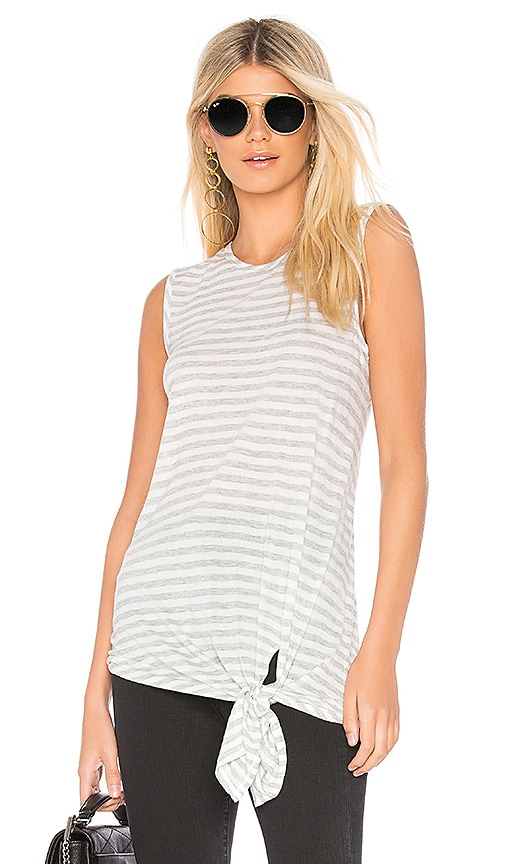 Bobi Striped Tissue Jersey Tank in Light Gray