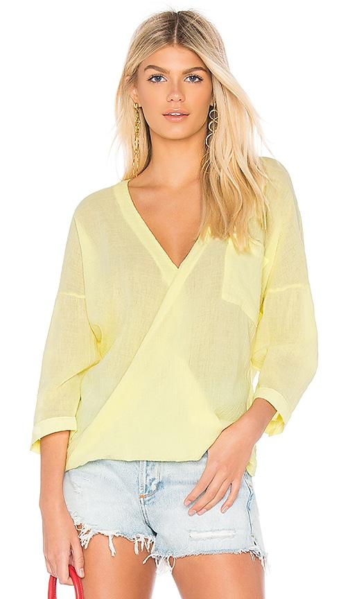 Bobi Gauze Surplice Top in Yellow