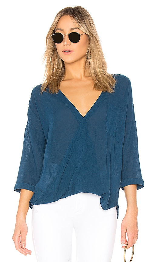 Bobi Gauze Surplice Top in Blue