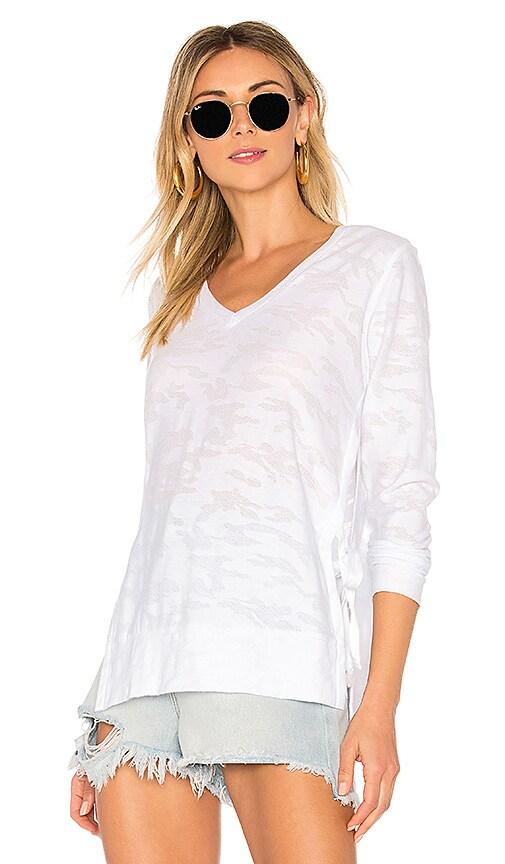 Bobi Distressed Camo Long Sleeve Top in White