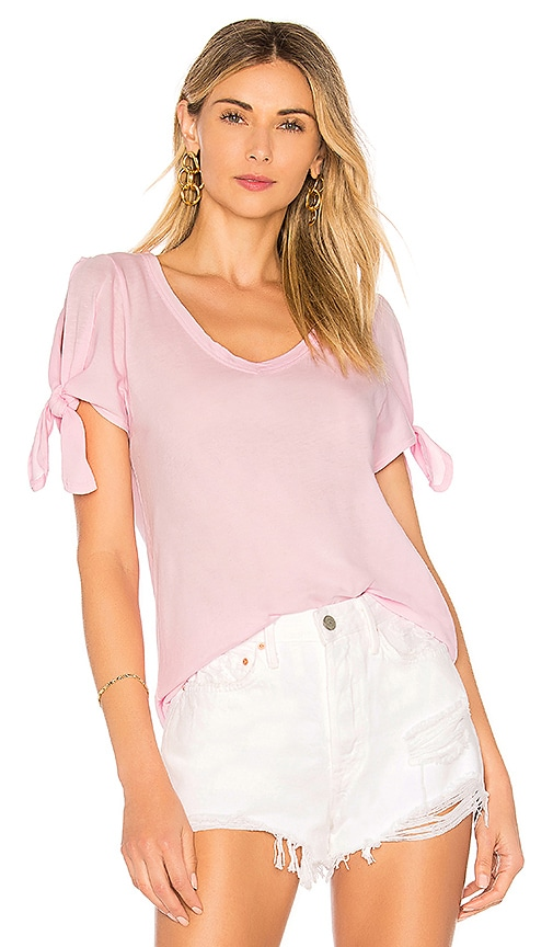 Bobi Lightweight Jersey Open Shoulder Tee in Pink